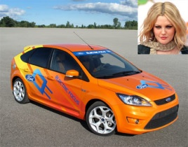 Drew Barrymore drives Jay Leno's Electric Ford Focus