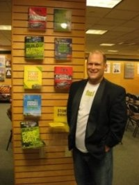Seth Leitman, The Green Living Guy at the Barnes and Noble in Santa Monica, CA the Grove next to all of his books.