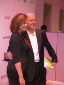 James Cameron with Sigourney Weaver at the 2010 Popular Science Breakthrough Awards. James Cameron is holding a signed copy of the book Green Lighting that I had just given him.