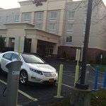 Chevy Volt charging up at a hotel