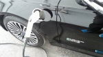 Nissan Leaf electric vehicle plugged in