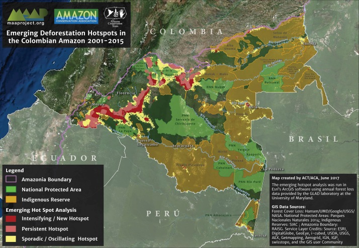 This is the first MAAP (Monitoring of the Andean Amazon Project) article for the Colombian Amazon and was produced in partnership between the Amazon Conservation Team (ACT) and Amazon Conservation, made possible by support from the MacArthur Foundation. MAAP seeks to improve understanding of current patterns and drivers of deforestation by harnessing the recent explosion of high-resolution satellite imagery and near-real-time deforestation data, and presenting this information in accessible reports..#1