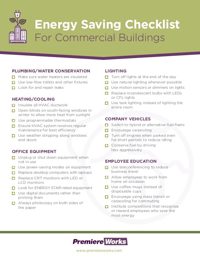 Energy saving checklist for commercial buildingselectric for Green building features checklist